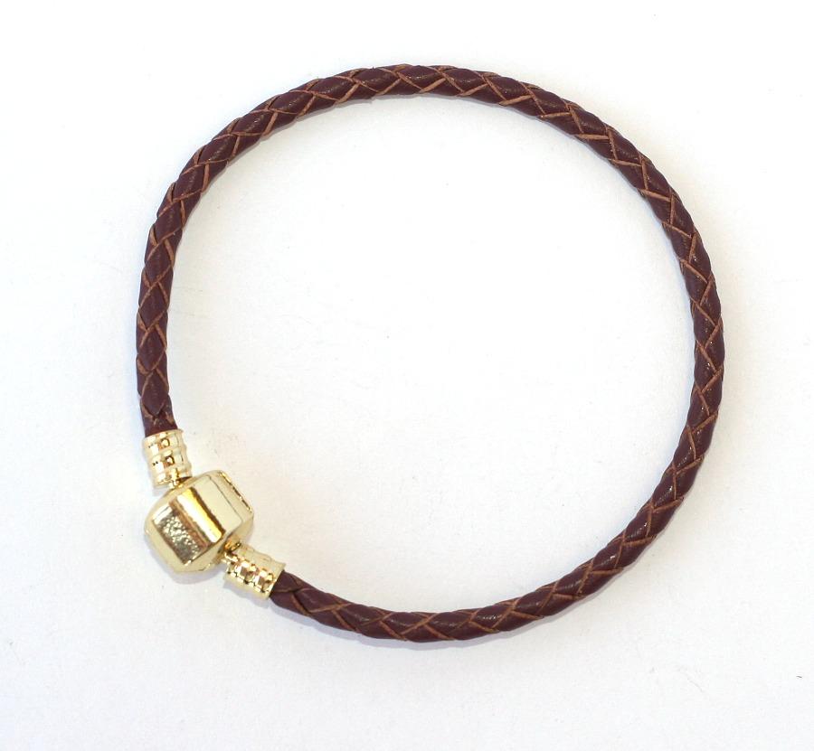43535bece85 Náramek na korálky Fashion Jewerly - Kožený hnědý copánek se zlatou 1542