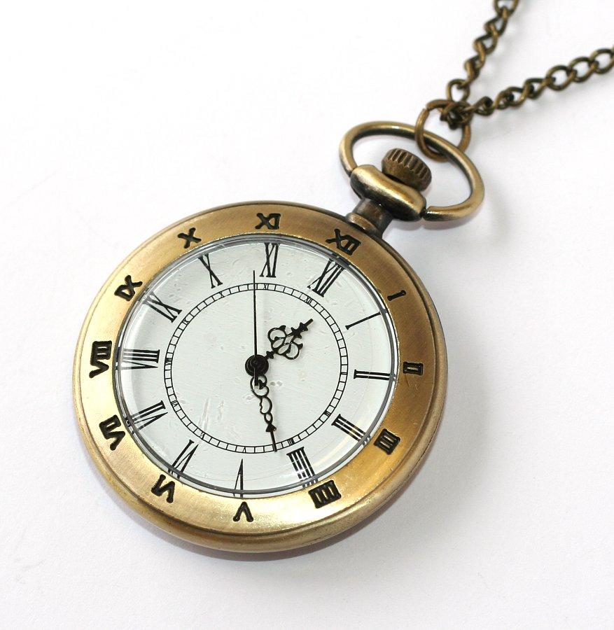 8c15d47f4 MR kapesní hodinky na řetízku - Retro, Vintage, Rome Simple, Open face 1784