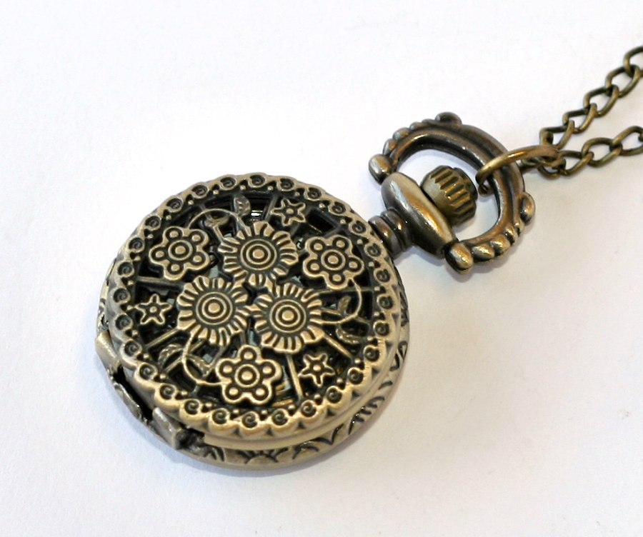 MR otevírací kapesní hodinky na řetízku - Květiny 55d4ec958e
