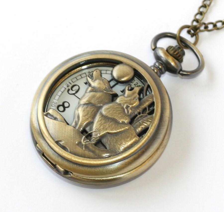 MR otevírací kapesní hodinky na řetízku - Vlkodlak c5ae643589