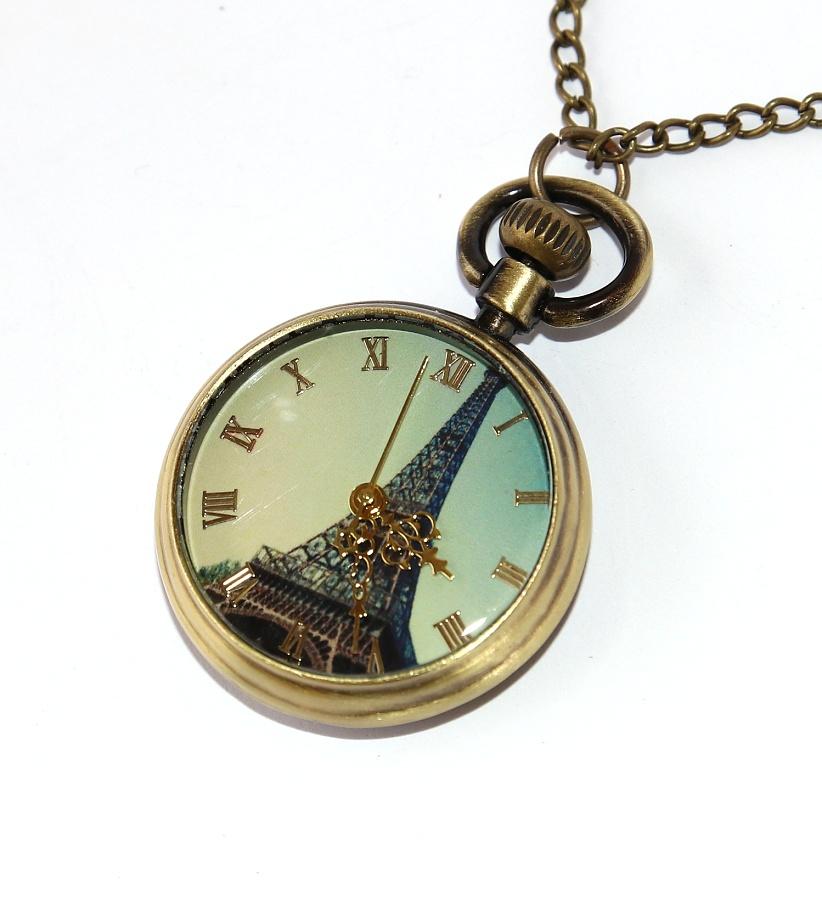 bbf3625cd MR Otevírací Kapesní Hodinky na řetízku, bronzové - Eiffelova Věž, Retro  Style, Antique Gold Paris 2497