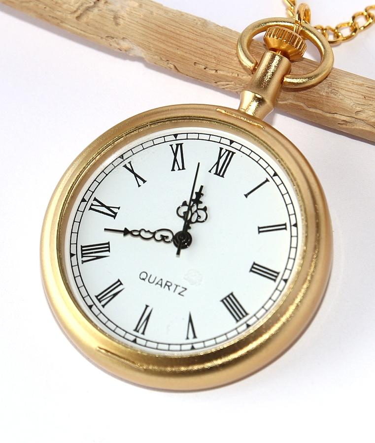 61e2210e7 MR Kapesní Hodinky na řetízku, zlaté - Retro Gold Elegant Style, Římské  číslice,