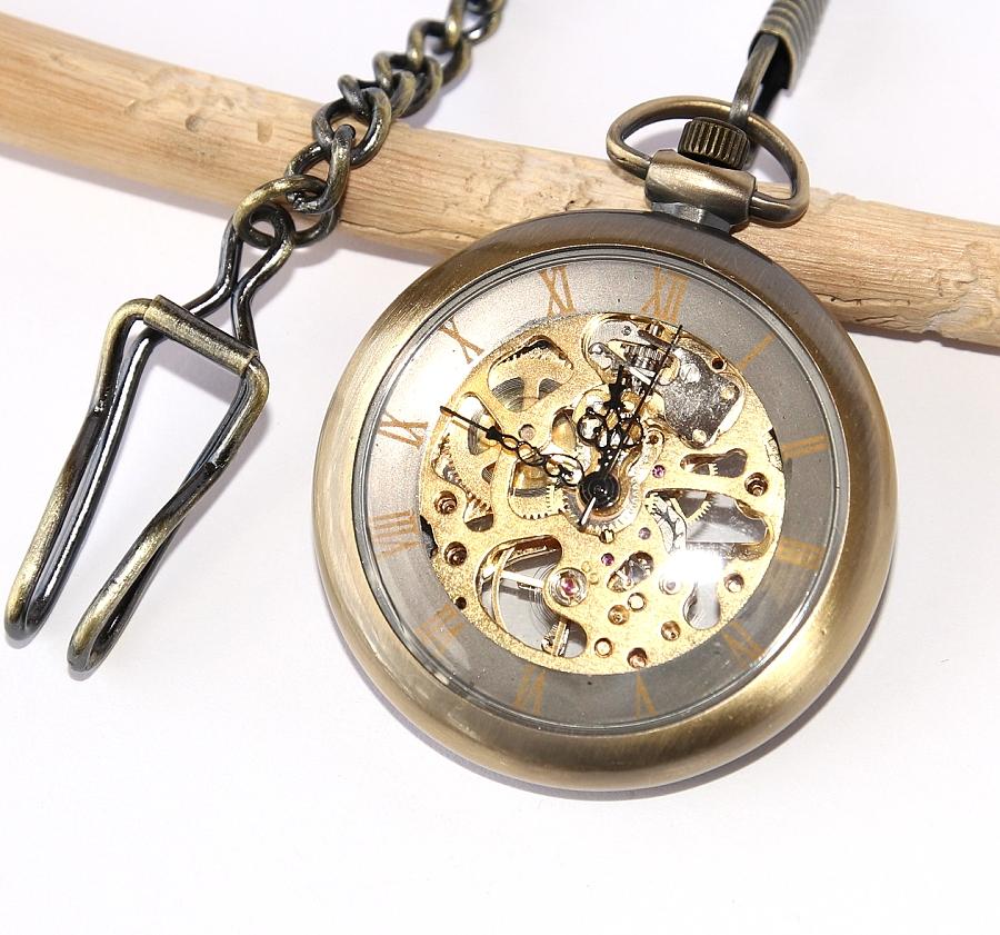 501944398 MR Kapesní Hodinky na řetízku, bronzové - Mechanické Retro Bronz Style,  Exkluzivní kvalitní krása