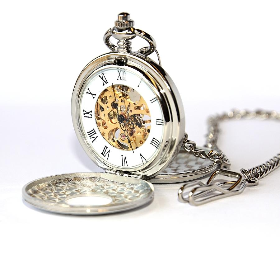 53cbd5691 MR Kapesní Hodinky s řetězem - Mechanické cibule, Retro stříbrný styl,  Římská čísla,