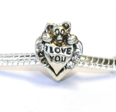Korálek Fashion Jewerly - I love You Srdce s méďou 1106