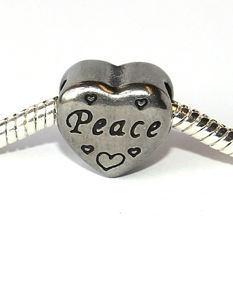 Korálek nerezový Fashion Jewerly - Mír v srdci, Peace with love 2474
