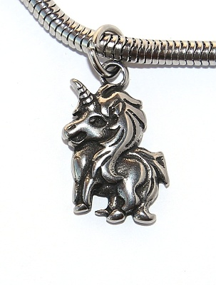 Korálek nerezový Fashion Jewerly - Přívěsek Jednorožec, Happy life and smile, Cute Unicorn 2579