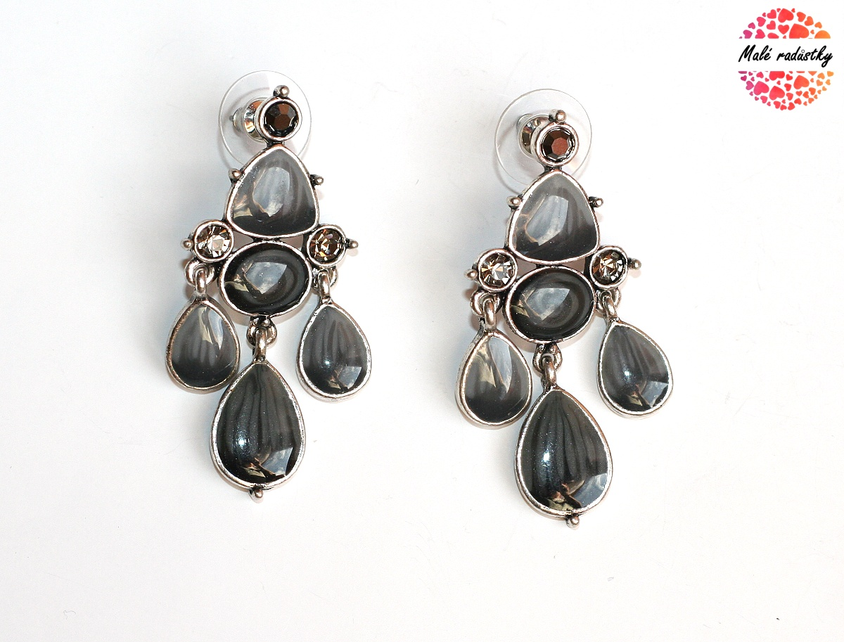 Náušnice Fashion Jewerly - Ethnic grey drops 118