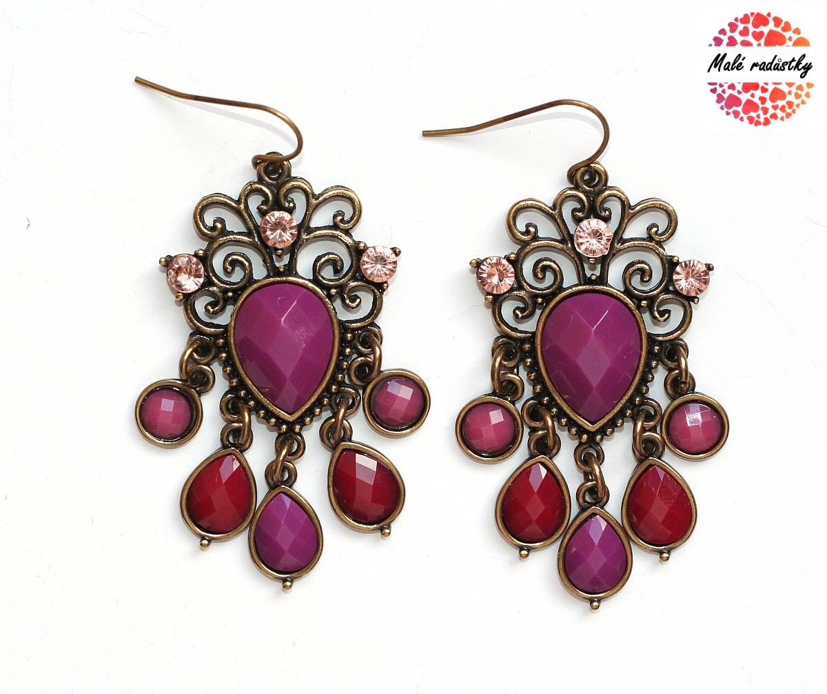 Naušnice Fashion Jewerly - Retro purple drops 119