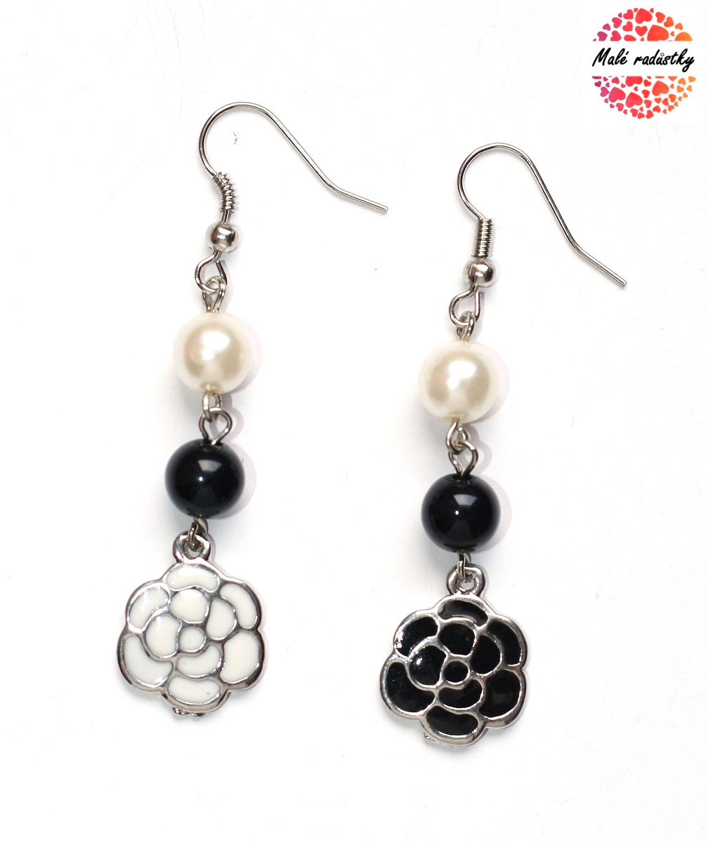 Náušnice Fashion Jewerly - Black and white flower 160