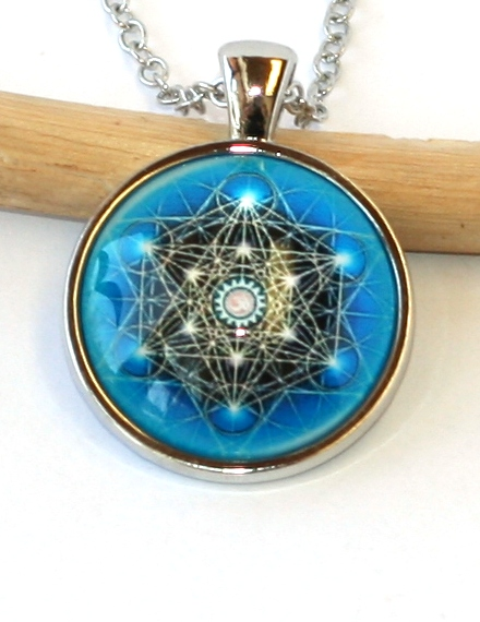 Řetízek Fashion Jewerly - Amulet Mandala, Květ Života, Mekaba Blue 2089